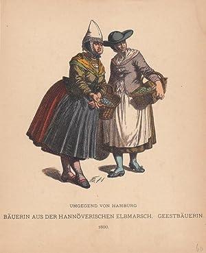 Bäuerin aus der hannöverischen Elbmarsch, Geestbäuerin, Trachten, Volkskunde, ...