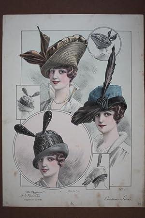 Damenhüte, Hutmode, Les Chapeaux de la Femme Chic, großformatige Farblithographie um ...