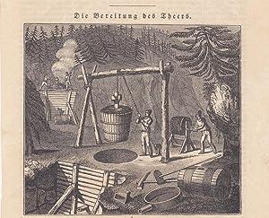 Pechsieder, Die Bereitung des Theers, Holzstich von 1836 mit Blick auf die Arbeiter, Blattgrö&...