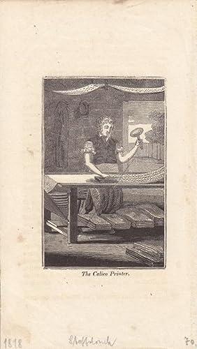 Stoffdruck, The Calico Printer, Kupferstich um 1818 mit Blick in die Werkstatt, Blattgrö&szlig...
