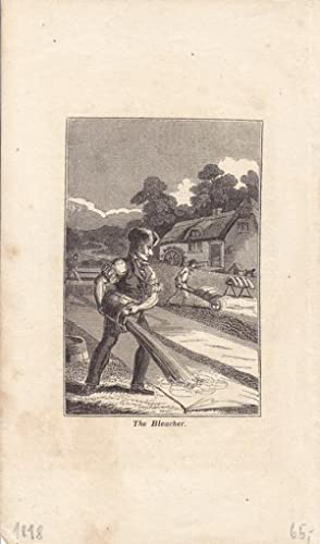 Der Bleicher, The bleacher, Kupferstich von 1818, Blattgröße: 17,2 x 10 cm, reine Bildgr...