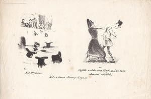 Hut, Zylinder, Lithographie um 1835 mit zwei humoristischen Szenen, Blattgröße: 15 x ...