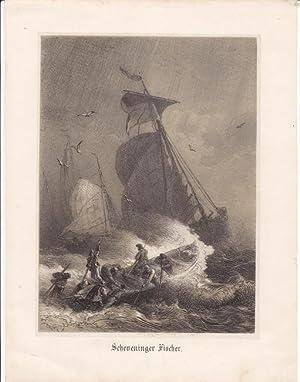 Scheveninger Fischer, Den Haag, getönte Lithographie um 1850 mit Fischern in einem Sturm, ...