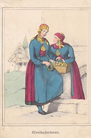 Altenländerinnen, Trachten, Volkskunde, altkolorierte Lithographie um 1847, Blattgrö&...