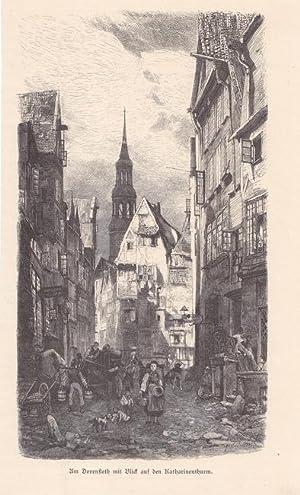 Am Dovenfleth mit Blick auf den Katharinenthurm, Holzstich um 1860 mit Blick in einen Straß...