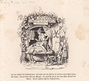 Schneidermeister, Johann Meckerling, Das tapfere Schneiderlein, Holzstich um 1860 nach Zeichnung ...