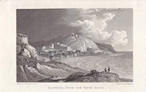 Hastings from the White Rocks, Stahlstich um 1830 von E. Francis nach W. Westall, Blattgröße: 11,...