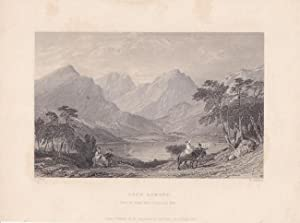 Loch Lomond from the Road above Inversnaid Mill, schöner Stahlstich von 1837 von T. Jeavons/ T. A...