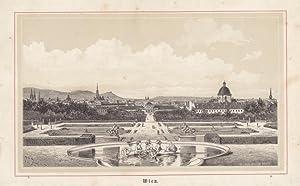 Fernsicht auf Wien, Holzschnitt um 1860 von R. v. Waldheim, Blattgröße: 14,3 x 23 cm, ...
