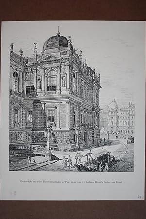 Universität Wien, Nordost-Ecke des neuen Universitätsgebäudes; erbaut vom † ...