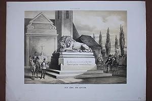 Der Löwe von Aspern, original Lithographie um 1860 von V. Katzler, Blattgröße: 25,5...