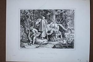 Rudolf von Habsburg (1218 - 1291), Stahlstich um 1858 von Schultheiss nach Schwind, Blattgrö&...