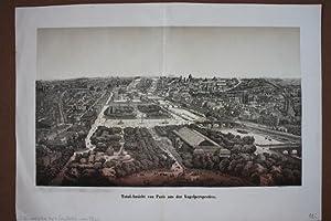 Total-Ansicht von Paris aus der Vogelperspektive, schöne Lithographie mit Tonplatte um 1860 ...
