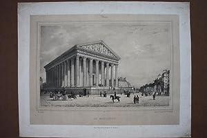 Paris, Kirche la Madeleine, schöne Lithographie um 1850 von Auguste Bry nach Ph. Benoist, ...