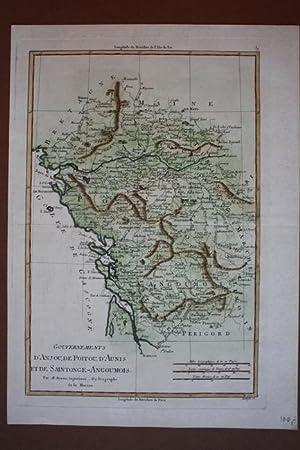 Gouvernement d Anjou, de Poitou, d Aunis et de Saintonge-Angoumois, altkolorierter Kupferstich um ...