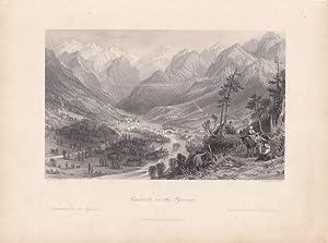 Cauterets, in the Pyrenees, Stahlstich um 1870 von S. Fisher nach T. Allom, Blattgröße: ...