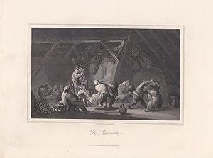 Der Bauerntanz, Stahlstich um 1850 von L. Beyer nach Isaac von Ostade, Blattgröße: 20,8 ...