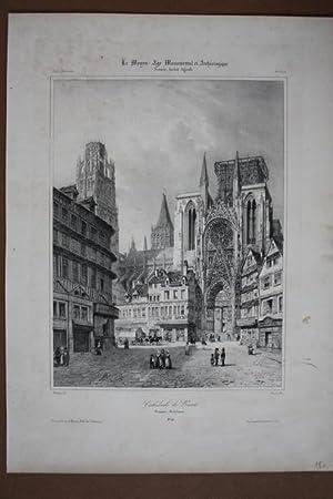 Cathedrale de Rouen, großformatige Lithographie um 1845 aus der Reihe Le Moyen-Age Monumental...