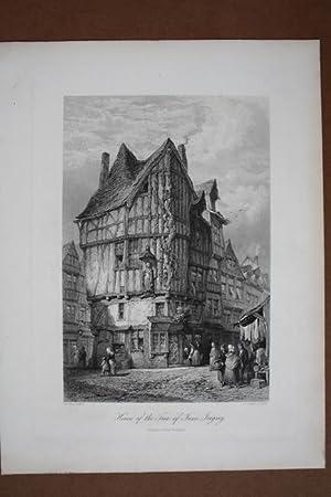 House of the Free of Jesse. Joigny, Stahlstich um 1875 von J.J. Crew nach L.J. Wood, Blattgrö&...
