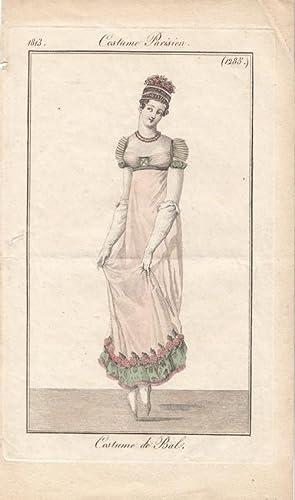 Costume Parisien, Costume de Bal, altkolorierter Kupferstich um 1813, Blattgröße: 21 x ...