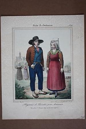 Paysans de Varades pres Ancenis, altkolorierte Lithographie um 1840, Blattgröße: 30 x 24...