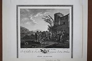 La Danse, Bauerntanz, Kupferstich um 1770 von Gareau mit tanzenden Bauern vor Ruinenszene, Blattgr&...