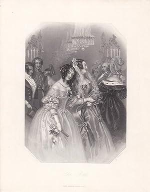 The Ball, schöner Stahlstich um 1830 mit zwei Damen auf einer Ballgesellschaft, Blattgrö&...