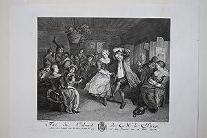 Tire du Cabinet de Mr. Le Brun, schöner Kupferstich von 1779 mit Tanz in einer Bauernstube, ...