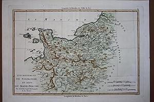 Gouvernement de Normandie et Celui du Maine-Perche, altkolorierter Kupferstich um 1780, Blattgr&...