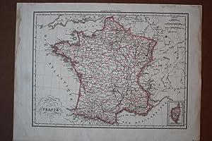 Royaume de France En 1829, grenzkolorierter Stahlstich um 1830, Blattgröße: 26,2 x 35 cm...