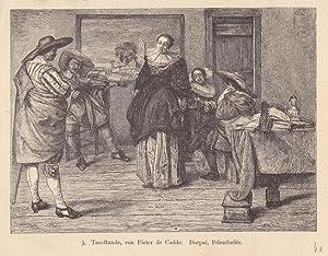 Tanzstunde, Radierung um 1860 nach Pieter de Codde, Blattgröße: 12 x 15,5 cm, reine ...