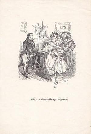 Tanzstunde, Holzstich um 1840, Blattgröße: 22 x 14,3 cm, reine Bildgröße: 10 ...