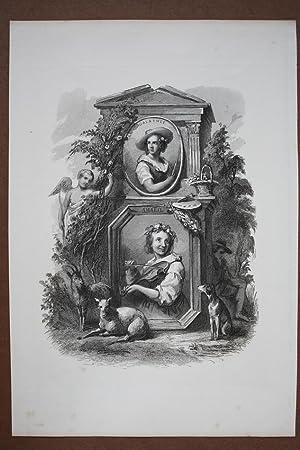 Galathee, Amaril, Kupferstich um 1850 mit der Darstellung von Musik und Malerei in Form von zwei ...