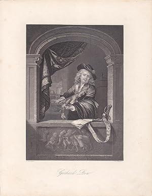 Geigenspieler, Stahlstich um 1850 von D.J. Pound nach Gerhard Dow mit Geige spielendem Mann in ...