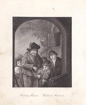 Wandering Musicians, Wandernde Musikanten, Stahlstich um 1850 von A.H. Payne nach A.v.Ostade, ...