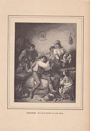 Zigeunermusik, schöner Holzstich um 1860 nach einem Gemälde von Joh. Grund, Blattgrö...