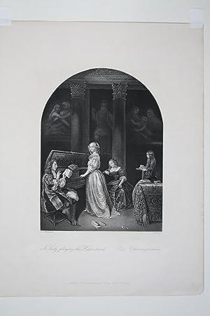 Die Clavierspielerin, A lady playing the Harpsichord, Stahlstich um 1840 von A.H. Payne nach Caspar...