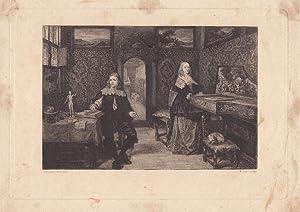Holländisches Zimmer mit Frau an Klavier, schöne Radierung um 1870 von W. Unger nach ...