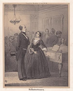 Selbstvertrauen, Paar auf einer Gesellschaft am Klavier stehend, Lithographie von 1854 aus Dü...