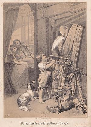 Wie die alten sungen - so zwitschern die Jungen, Lithographie um 1860, Blattgröße: 22,5 ...