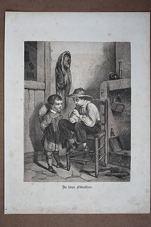 Der kleine Flötenbläser, Holzstich um 1860 mit zwei Kindern, Blattgröße: 30,5 ...
