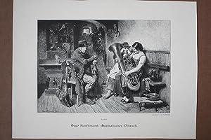 Musikalischer Versuch, Holzstich 1887 von Th. Knesing nach Hugo Kauffmann, Blattgröße: ...