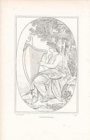 Terpsichore, Muse mit Harfe, Stahlstich um 1840 nach Le Sueur, Blattgröße: 18 x 11 cm, ...
