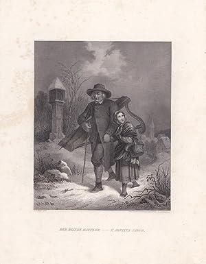 Der blinde Harfner, L arpista cieco, Stahlstich um 1850 von E. Derunger nach F. Rothbart, Blattgr&...