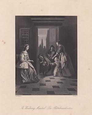 The wandering Minstrel, Die Bettelmusikanten, Stahlstich um 1845 von W. French nach Jan Uchtervelt,...