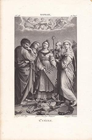 Ste. Cecile mit Attribut der Orgel, schöner Kupferstich um 1820 mit der St. Cäcil umringt...