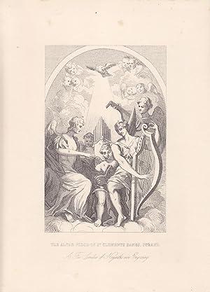 The Altar Piece of St. Clements Danes, Srand, schöner Stahlstich um 1870 nach Hogarth, Blattgr...