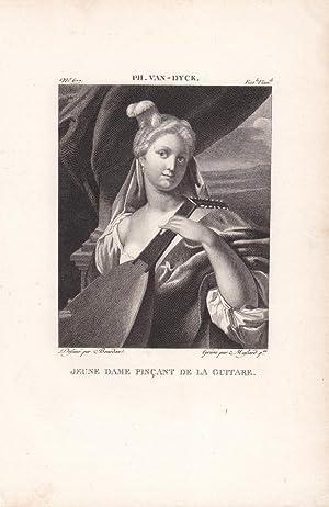 Junge Frau mit Gitarre, Jeune Dame Pincant de la Guitare, schöner Stahlstich um 1820 nach van ...