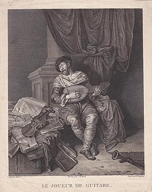 Der Gitarrenspieler, Le Joueur de Guitare, schöner Kupferstich um 1815, Battgröße: ...