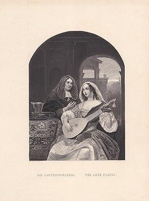 Die Lautenspielerin, The Lute Player, Stahlstich um 1845 von A.H. Payne nach F. van Mieris, Blattgr...